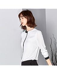Versión coreana slim slim primavera de camisas de cuello de las mujeres al final de camisa de manga larga camisa de Gasa salvaje,M,Blanco