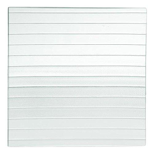 Home Assiette carrée à Rayures, en Verre, Transparent/Vert, 30 x 30 x 1 cm