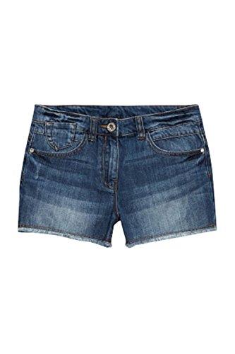 Highstreet Outlet Girls Kids Blue Denim Shorts with Frayed Edge and Adjustable Waist