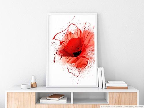 EAU ZONE Home Bild - Mohnblumen im Splash Art Stil- Poster Fotodruck in höchster Qualität (Schwarze Menschen Bilder)