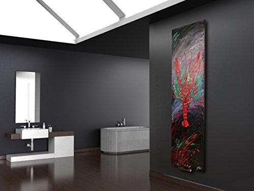 Wandheizung Vernissage Design 38: Hummer, 180 x 47 cm, 1118 Watt, Acryl für Wohnraum und Bad (handgemaltes Unikat, Wandbild als Wohnraum-Heizkörper, Badheizkörper Mittelanschluss)