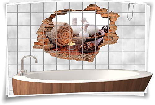 3D Fliesen-Aufkleber Fliesen-Bild Fliesen-Tattoo Fliesen-Sticker Wand-Durchbruch SPA Sauna Bad Kerzen Balance Entspannung Meditation Erholung, 90x60cm, 20x20cm (BxH) -