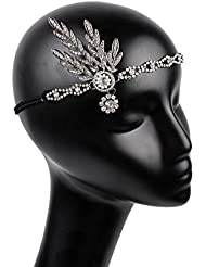 Frcolor 1920's Flapper Großes Gatsby inspiriertes Blatt Medaillon Perle Kopfstück Tiara Stirnband Kopf Krone (Silber)