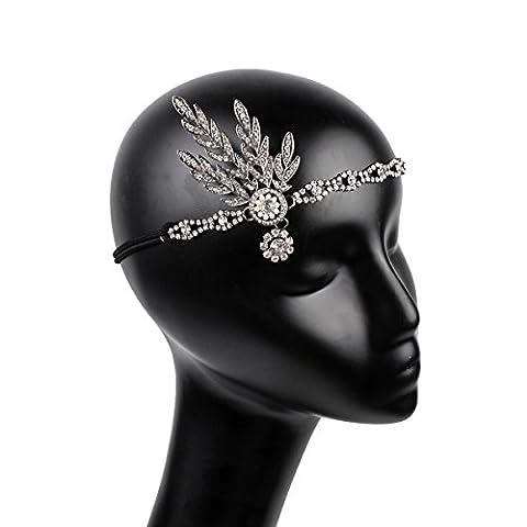 Frcolor Femme Coiffe Bandeau vintage années 1920garçonne Gatsby le Magnifique (Silver)