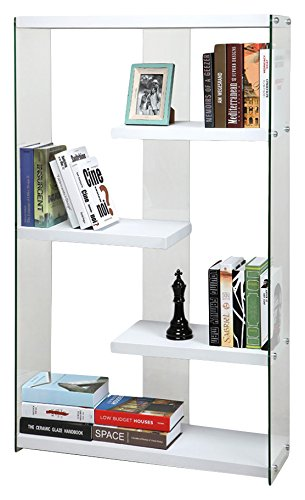 Cribel Pocket Libreria, Legno Multistrato/Vetro Temperato, Laccato Bianco, 91.5x30x149 cm