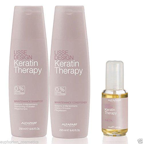 Alfaparf Lisse Design Keratin Therapy Shampoo 250ml Conditioner 250ml The Oil 50ml