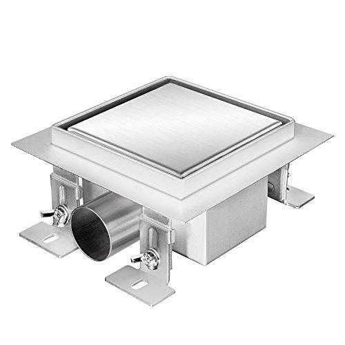 Zelsius Moderne Edelstahl Duschrinne   verschiedene Modelle und Größen für ebenerdige Dusche   quadratischer Bodenablauf, Duschablauf, Bodenrinne (Noosa, 12 x 12 cm)