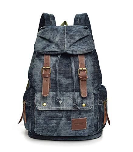 JHiojjejg Vintage Denim Stoff Rucksack Frauen Lässig Outdoor Reiserucksack mit Klappe Mode Wild Schultasche Groß (Color : Blau, Size : -) - Paper Denim Tuch