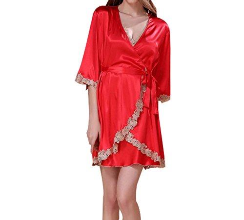Frau Strapsen Sexy Bestickt Mit Langen Ärmeln Zweiteilige Anzug Pyjamas Nachthemden Red