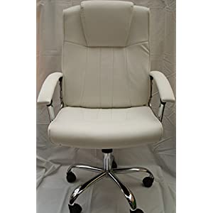 New Stylish Beige Executive Leather Office Home study Computer Desk Chair Tilt Swivel Height Adjustment.