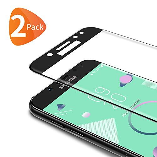 Bewahly für Panzerglas Schutzfolie für Samsung Galaxy J7 2017 [2 Stück], 3D Curved Full Cover Panzerglasfolie Ultra Dünn HD Bildschirmschutzfolie 9H Härte Folie für Samsung Galaxy J7 2017 - Schwarz