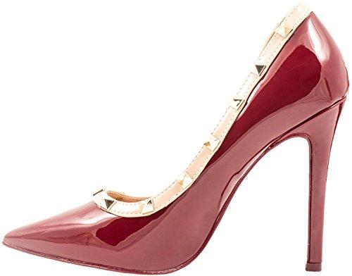 Elara Spitze Damen Pumps   Bequeme Lack Stilettos   Elegante High Heels Wine Paris