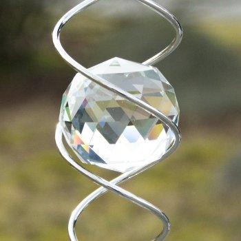 CIM Windspirale - Crystal Twister - Abmessung: 6x34cm, Kugeln: Ø5cm/Ø3cm - inkl. Haken, Kugellagerwirbel, Nylonschnur, Zwei Glaskugeln und Glastropfen im Facettenschliff - 2