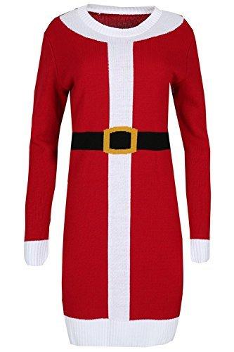 Be Jealous Damen Übergroßer Baggy-stil Weihnachten Langärmlig Weihnachten Weihnachtsmann Kostüm Mini Pullover Kleid Plus Size 8-22 Rot