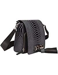 Qidell Women'S Crocodile Embossed Genuine Leather Messenger Bag Crossbody Handbag Purse (Blue)