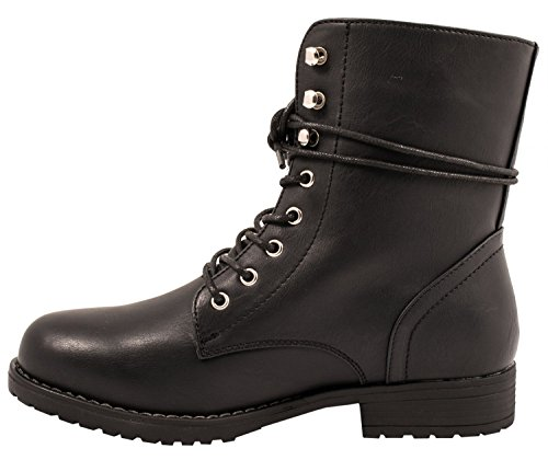 Elara Damen Stiefelette | Bequeme Worker Boots | Blockabsatz Schnürer Schwarz Paris
