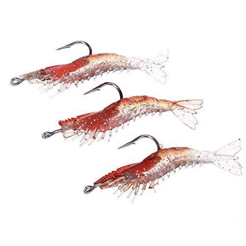 Pesca de Senuelo Artificial - TOOGOO(R)3pcs 6cm / 3g Artificial Pesca Senuelo Camaron Bionico Suave Cebo Pesca Trasto Noctilucent Luminoso Realista con Gancho Rojo