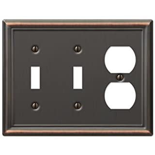 AmerTac 149TTDDB Chelsea Steel Double Toggle/Single Duplex Wallplate, Aged Bronze by AmerTac