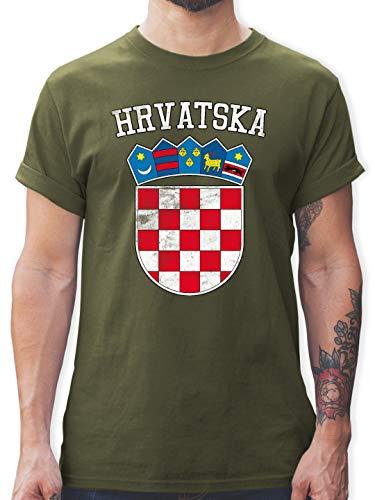 Fußball-Europameisterschaft 2020 - Kroatien Wappen WM - S - Army Grün - L190 - Tshirt Herren und Männer T-Shirts -