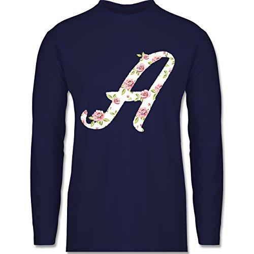 Anfangsbuchstaben - A Rosen - Longsleeve / langärmeliges T-Shirt für Herren Navy Blau