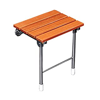 JUN-shower stools Foldable Wooden Shower/Bath Stools Wall Mounted Shower Seat Stool Folding Solid Wood Change Shoes Stool for Elderly/Disabled Anti-Slip Safety Shower Stool with Stainless Steel Bracket Stool Max. 160kg