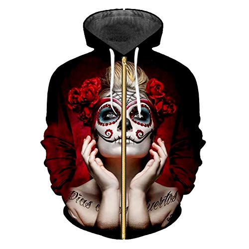 Ai Ya-weiyi Zip Hoodies Homme Sweatshirts Personnalité 3D Printed Mask Lady Hip Hop Big Size Tees Tops Pull d'hiver pour Hommes