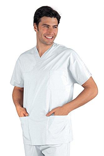 045000 Casacca Collo a V Bianco per Abbigliamento per settori sanitario, benessere ed estetico Donna Uomo Casacche
