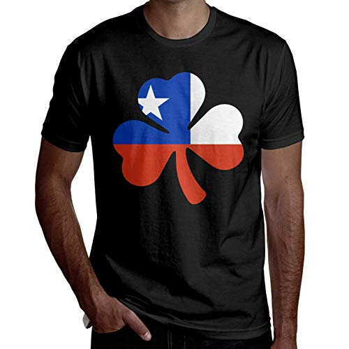 Mens chilenischen Flagge Shamrock Kurzarm Shirts lustige T-Shirts Coole T-Shirts lässig gedruckt Sommer Neuheit(M,schwarz) -