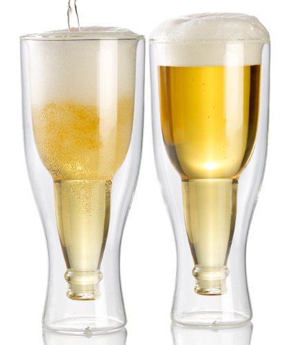infactory Doppelwandiges Glas: Doppelwandiges Bierglas, 0,2l im 2er-Set (Doppelwandiges Bierglas Scherzartikel)