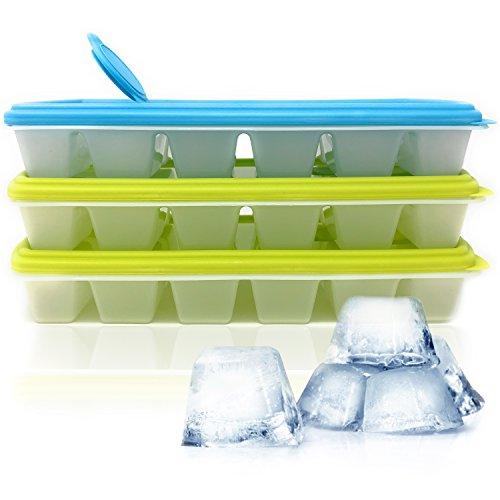 Hausfelder Eiswürfelform Eiswürfelbehälter mit Deckel - 3er Set Wiederverwendbar und BPA Frei, Kunststoff Behälter mit 12 Formen für Eiswürfel