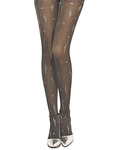 iB-iP Damen Metallische Nahtlose Stilvolle Mitte Taille Sheers Strumpfhosen, Schwarz