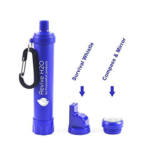 Revive H2O 4in 1Survival Wasser Filter Stroh + Pfeife + Kompass + Spiegel-Kann, auf eine Flasche oder Tasche. Verlängerung Rohr enthalten-1500L Kapazität - Tragbare Lifestraw Wasserfilter