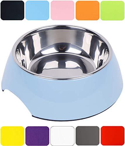 DDOXX Fressnapf in vielen Farben & Größen für kleine & große Hunde Katzen | Futternapf Katze klein | Hundenapf Hund groß | Katzennapf Edelstahl | Melamin-Napf | Blau, 160 ml