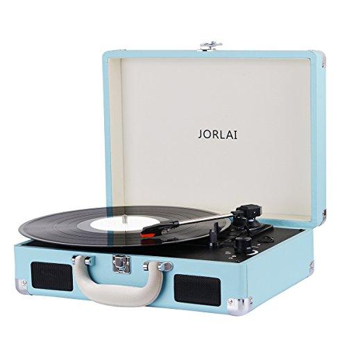 JORLAI Tocadiscos de Vinilo Recargable de 3 velocidades Maleta Portátil con 2 Altavoces Integrados, Soporte Vinyl-to-mp3 Grabacion / Auriculares / Entrada AUX / Salida RCA (Azul)