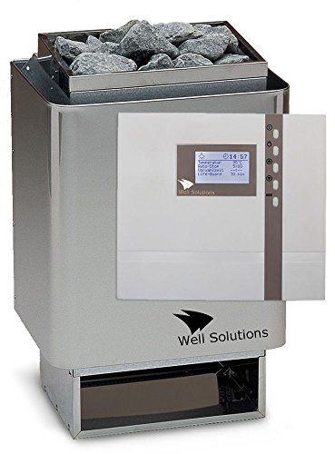 Well Solutions Edelstahl Sauna Ofen 34A 9 kw mit Premium Steuerung Econ D2 Saunatechnik Made in Germany