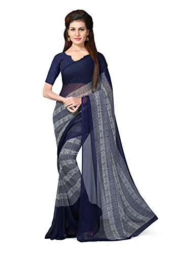 Oomph! Women's Chiffon Saree with Blouse Piece (rbvd_Denim Blue_Free Size)