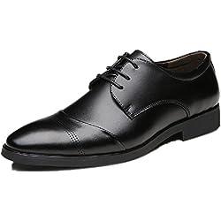 Zapatos Oxford Hombre, Cuero Vestir Cordones Derby Calzado Boda Negocios Brogue Negro Marron Rojo 37-47EU BK41
