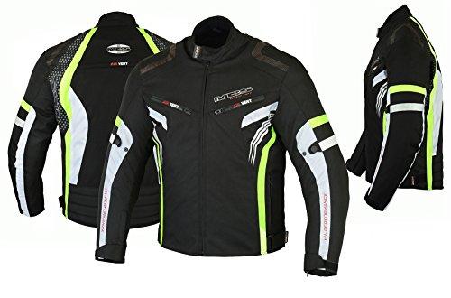 MBSmoto MJ22 Max Motocicleta Motocicleta Corta Textile Touring Jacket (Amarillo, 5XL)