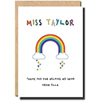 Thank you Card For Teacher Rainbow personalised handmade preschool primary school graduation