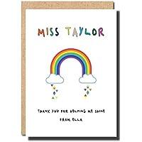 Thank you Card For Teacher Rainbow personalised handmade preschool primary school graduation