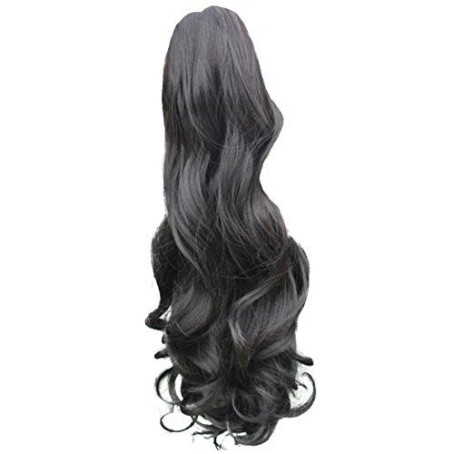 Kurze Gewellte Haarverlaengerung - SODIAL(R)Frauen Haarteil Kurz wellen foermige Lockige Klaue Haare Pferdeschwanz Klipp auf Haarverlaengerungen Schwarz