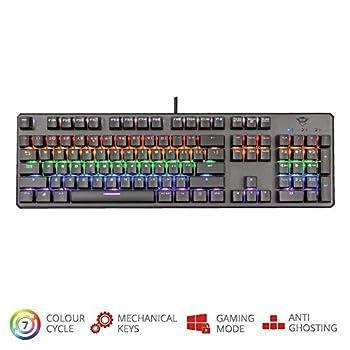 Trust Gaming GXT 865 Asta Tastiera Meccanica Gaming, Switch Red (Tasti Meccanici Rosso), Retroilluminazione, Anti Ghosting N-Key Rollover, Piastra Superiore in Metallo, Nero [Layout Italiano]