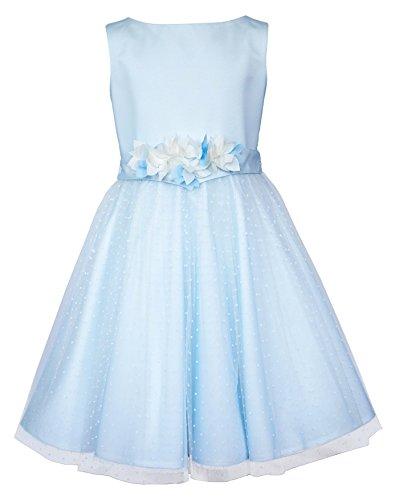 Unbekannt Sly Mädchen Kleid Festlich Hochzeit Blumenmädchen Kommunion Party Einschulung Tüll Blau Größe 128 (Kleid Shop Kommunion)