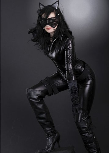 Womens Deluxe Black Catwoman Kostüm S (UK (Uk Catwoman Kostüm Deluxe)