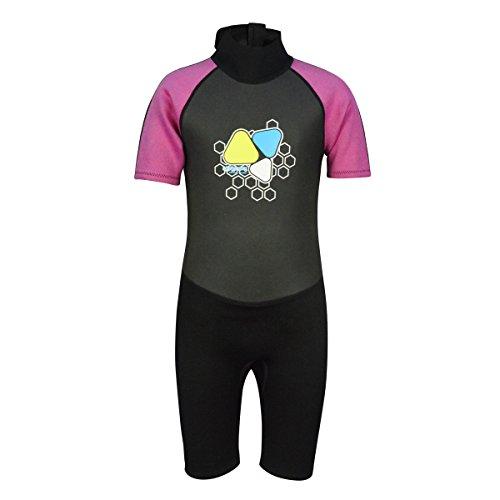 LayaTone Kinder Neoprenanzug 2mm Neopren Shortie Badeanzug UV Schutz für Jungen Mädchen (7-8Jahre, Rosa)