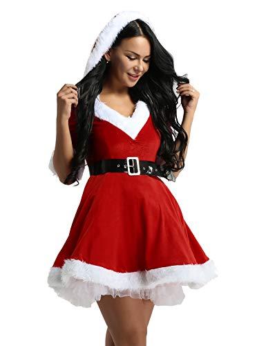iiniim Disfraz Miss Santa Navidad Vestido de Lujo con Capucha Cosplay Traje de Terciopelo para Mujer Chica Sra. Mamá Noel Tutú Rojo con Cinturón Ropa de Fiesta Manga Corta Rojo M