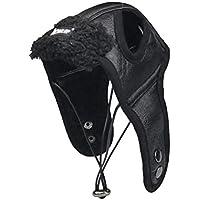 POPETPOP Mascota Perro Invierno Cálido Gorro de Aviador Mascotas a Prueba de Viento Piloto Motocicletas Proteger Sombrero Traje de Navidad - Tamaño S (Negro)