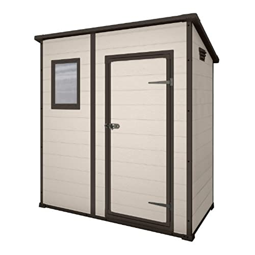 keter manor pent outdoor plastic garden storage shed 6 x 4 feet large beige - Garden Sheds 6x4