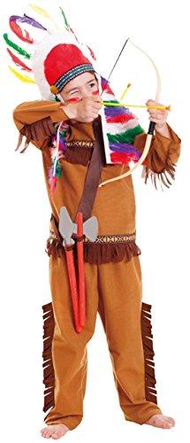 Halloweenia - Jungen Indianer Kostüm, Karneval, Fasching, Halloween, Braun, 98-116, 3-6 Jahre