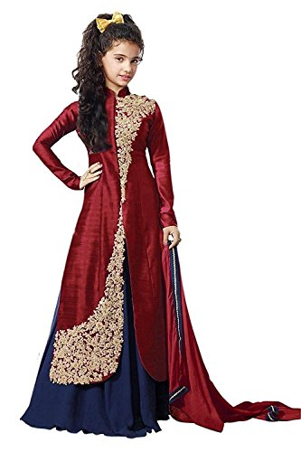 Yjack Creation Banglory Silk Lehenga Choli (Sohali Maroon Kids_Maroon_8-12 Year)